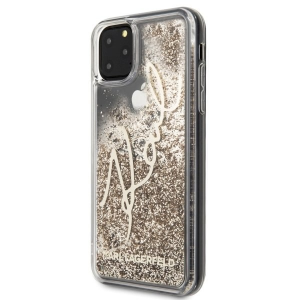 Etui Karl Lagerfeld do iPhone 11 Pro Max złoty/gold Glitter Signature