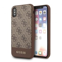 Etui Guess do iPhone X / Xs brązowy hard case 4G Stripe Collection