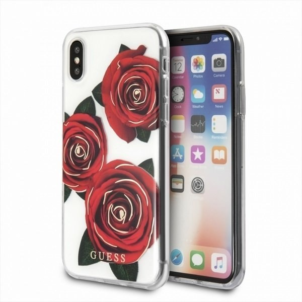 Oryginalne Etui Guess do iPhone X transparent hard case Flower Desire red rose
