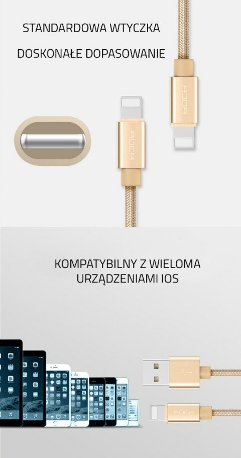 ORYGINALNY Kabel ROCK USB iPhone 5 SE 6S 7 100 cm