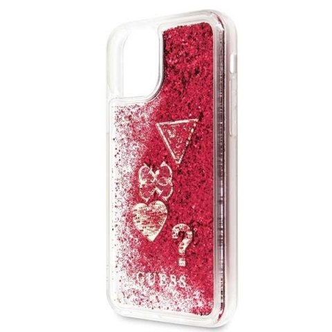 Etui Guess do iPhone 11 Pro raspberry hard case Glitter Hearts
