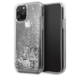 Etui Guess do iPhone 11 Pro srebrny/silver hard case Glitter Hearts