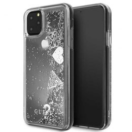 Etui Guess do iPhone 11 Pro Max srebrny/silver hard case Glitter Hearts