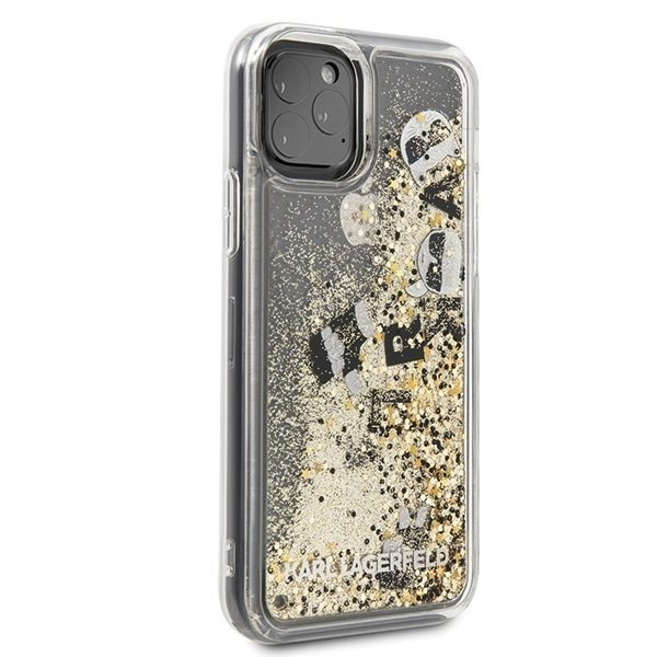 Etui Karl Lagerfeld do iPhone 11 Pro czarno-złoty/black & gold hard case Glitter