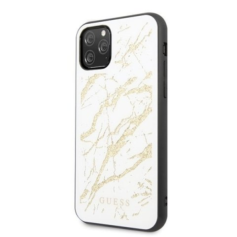Oryginalne Etui Guess do iPhone 11 Pro Max biały/white hard case Glitter Marble Glass