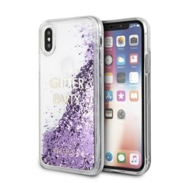 Oryginalne Etui Guess do iPhone X / Xs fioletowy/purple hard case Liquid Glitter Party