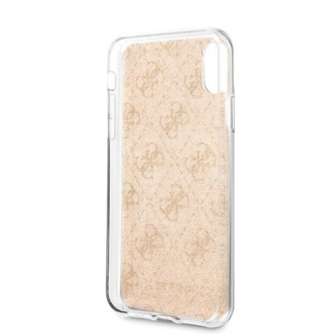 Oryginalne Etui Guess do iPhone Xr złoty/gold hard case Glitter