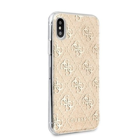 Oryginalne Etui Guess do iPhone X / Xs złoty/gold hard case Glitter