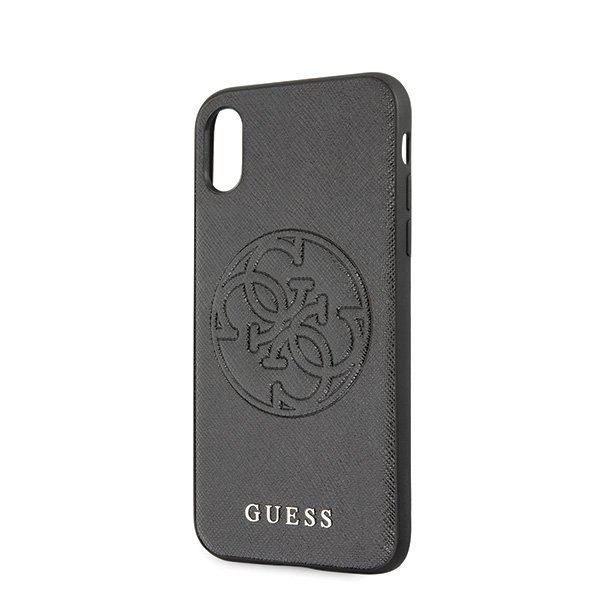 Oryginalne Etui Guess do iPhone X / Xs czarny/black hard case Saffiano 4G Circle Logo